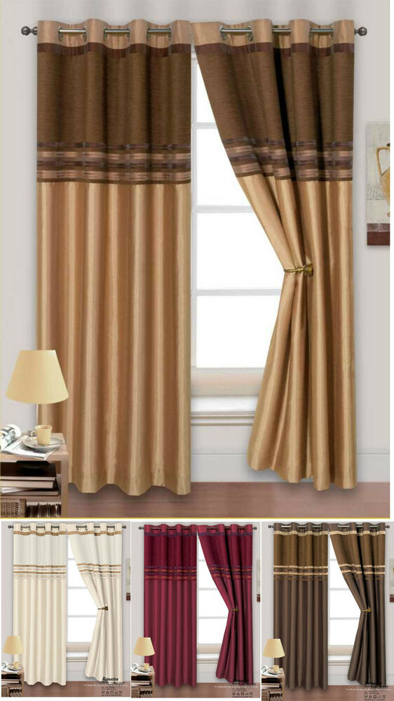 Heavy Thermal Chenille Stripe Ready Made Lined Ring Top Eyelet Curtain Pair Ebay