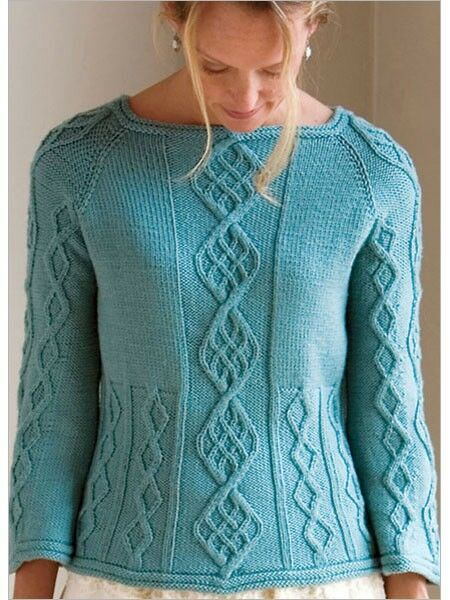 Easy Knitting Pattern For Sweater : Womans Aran Cable Sweater ~ Easy Pattern ~ 28