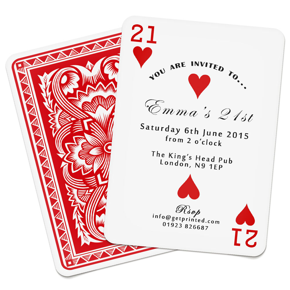 Personalised Playing Card Invitations Birthday Party Casino Las ...