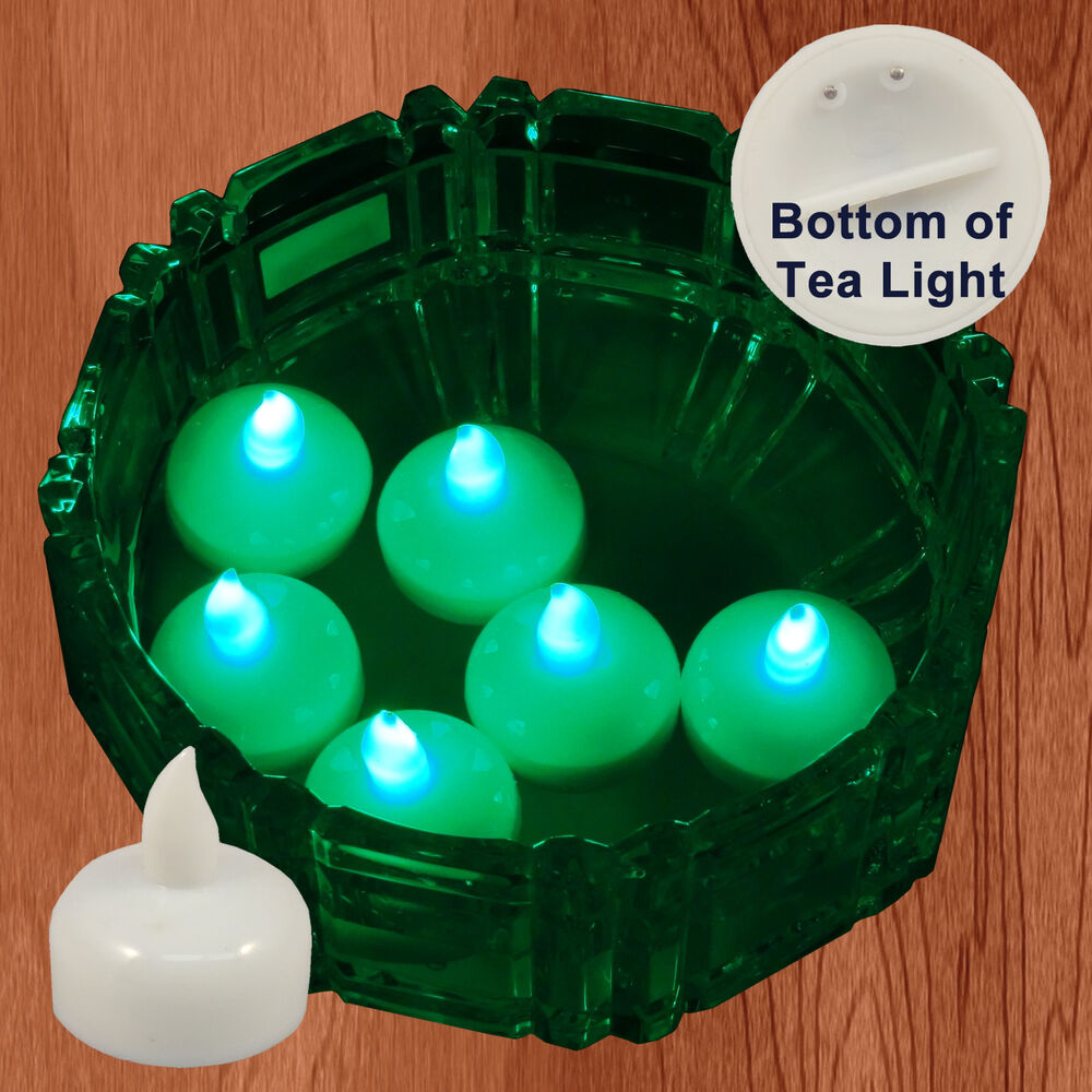 18 Flameless Floating Led Tealight Candle Battery Operated Green Tea Lights New Ebay