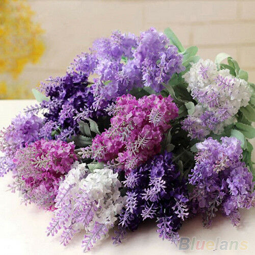 10 heads charismatic artificial lavender silk flower for Artificial flowers for wedding decoration