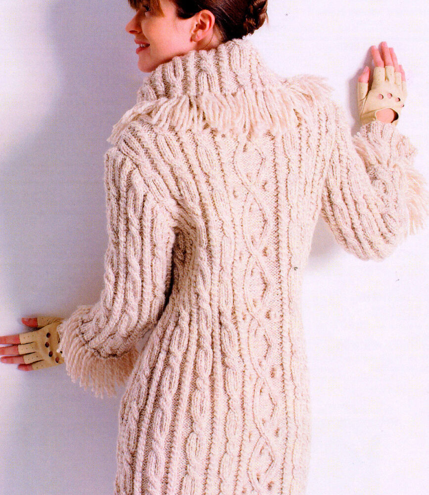 Womans Aran Cable/Bobble 3/4 Coat Fringed Collar/Cuffs 32 - 45