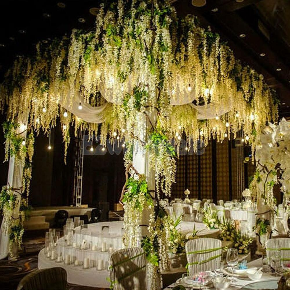 12x artificial silk wisteria fake garden hanging flower for Artificial flowers for wedding decoration