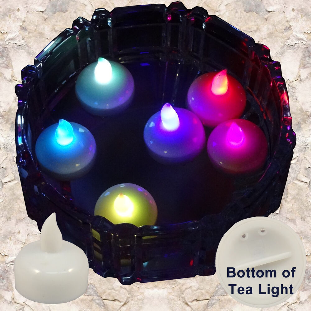 Flowers And Floating Candle Centerpieces With Led Lighting: 12 Multicolor Led Floating Candle Floral Tea Light For