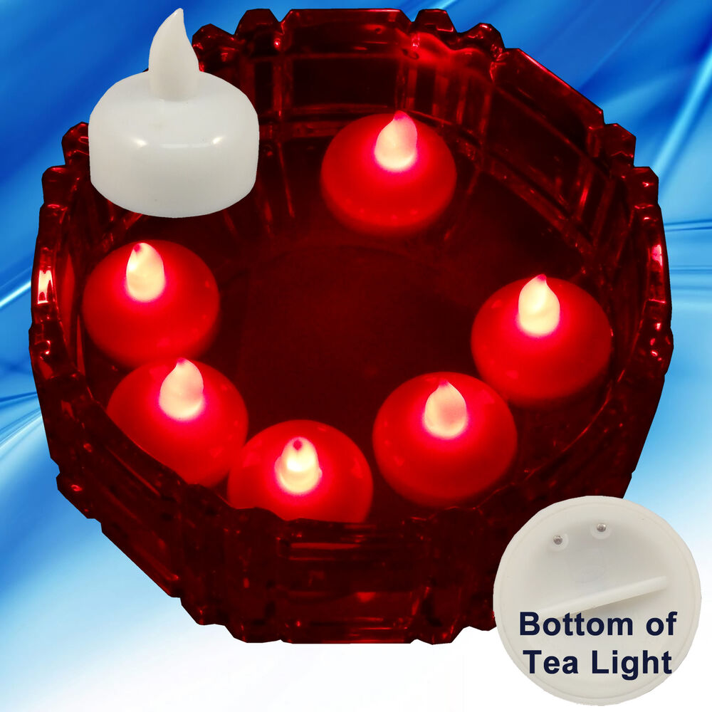 18 flameless floating led tealight candle battery operated red tea lights new ebay. Black Bedroom Furniture Sets. Home Design Ideas