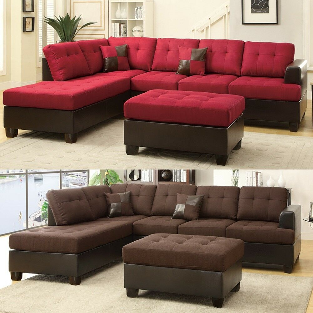 3 pcs large living room reversible sectional sofa chaise set ottoman plush seat ebay. Black Bedroom Furniture Sets. Home Design Ideas