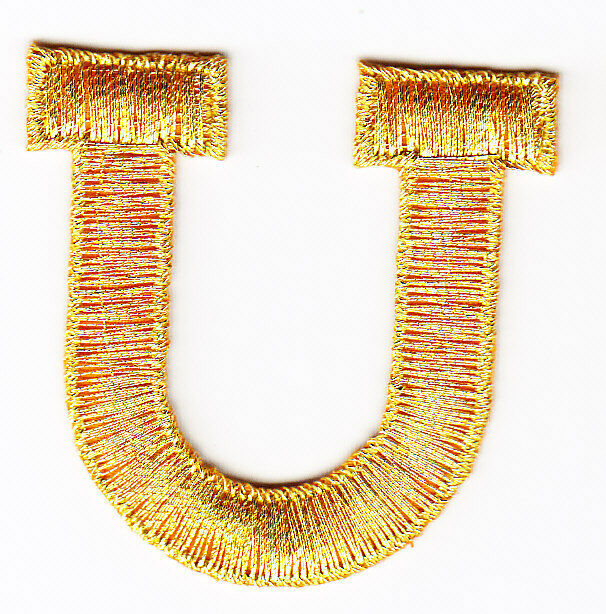 1 7/8 Metallic Gold Monogram Block letter P Embroidery
