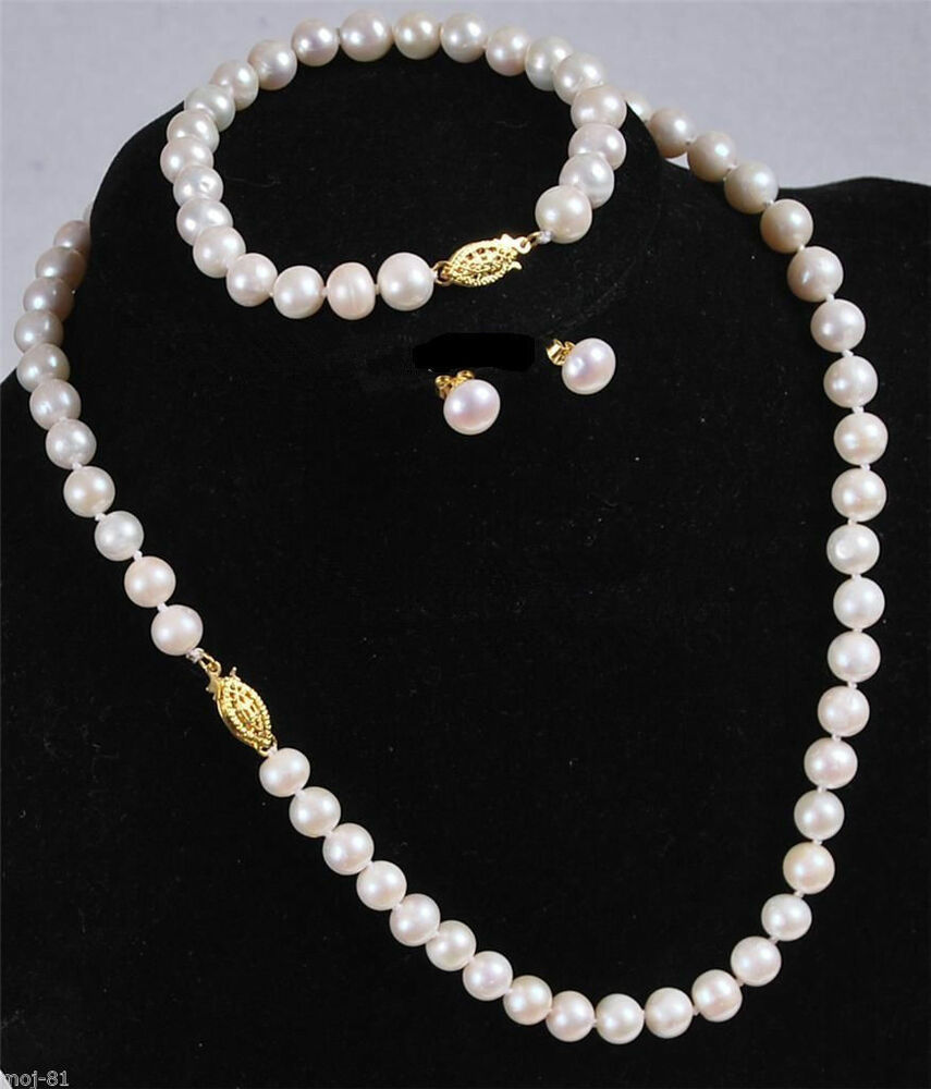 Pearl Necklace Akoya: 7-8MM White Akoya Cultured Pearl Necklace Bracelet Earring