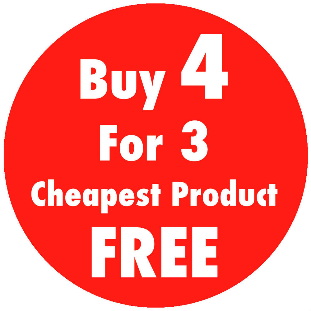 Details about bright red buy 4 for 3 promotional price stickers sticky tags labels