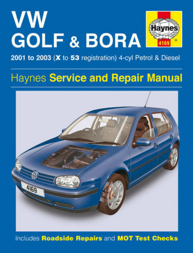 haynes manual 4169 volkswagen vw golf 1 4 1 6 1 8 2 0 gti match bora 2001 2003 ebay. Black Bedroom Furniture Sets. Home Design Ideas
