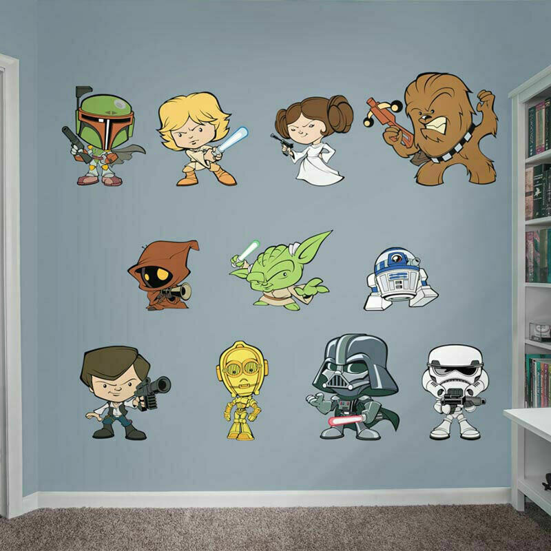 Star wars removable wall stickers vinyl decals kids boys for Childrens wall mural stickers