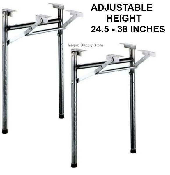 table legs black metal folding adjustable pkg 2 50 0034 ebay. Black Bedroom Furniture Sets. Home Design Ideas