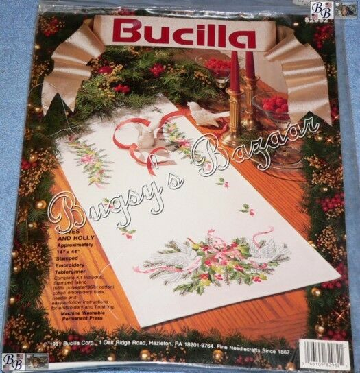 Bucilla Doves And Holly Tablerunner Christmas Stamped Embroidery Kit Floss Ebay