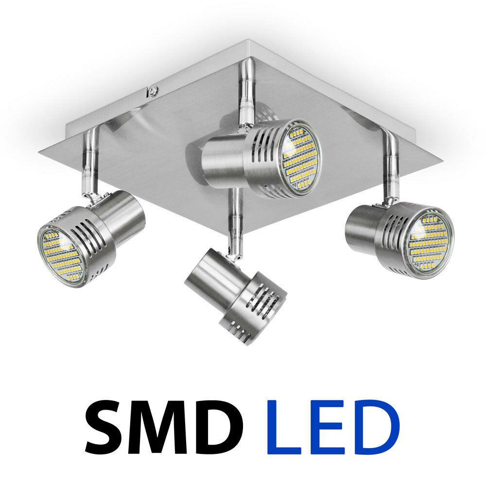 Brushed Chrome SMD LED GU10 Square Kitchen Ceiling Spot