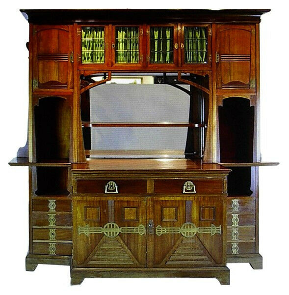 jugendstil art nouveau arts and crafts mahogany buffet circa 1900 ebay. Black Bedroom Furniture Sets. Home Design Ideas