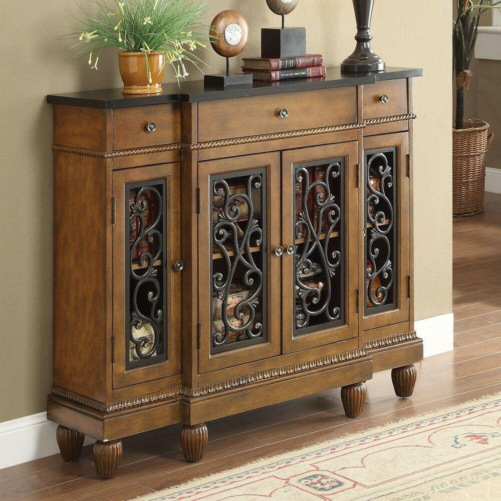 Vidi accent hallway console sofa table chest metal decor Wooden hallway furniture
