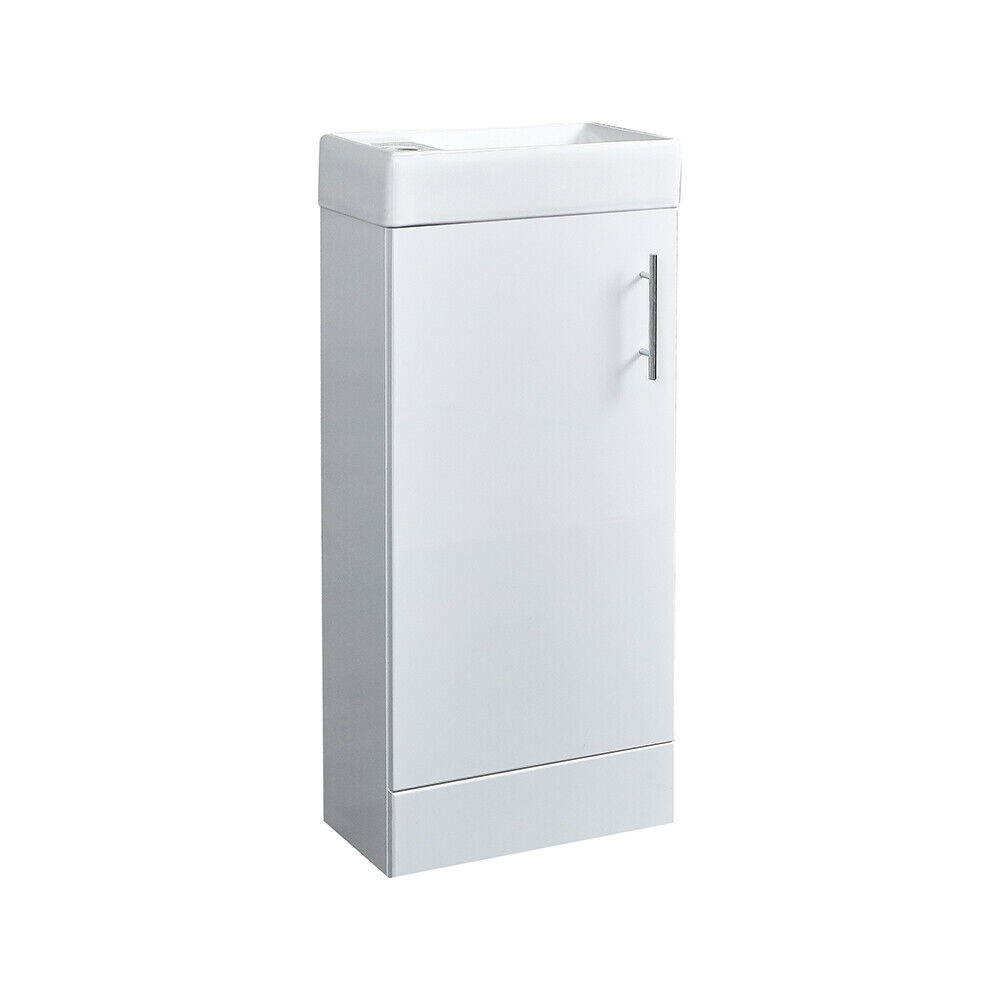 White minimalist compact floor standing vanity unit for Bathroom cabinets 400mm