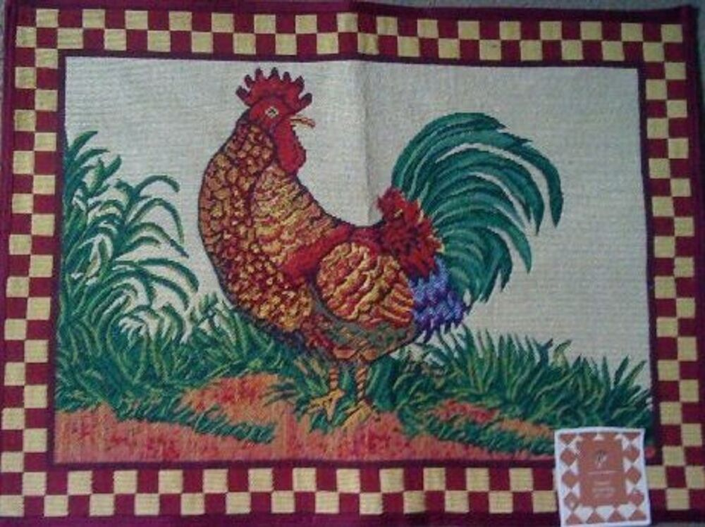 Tapestry Rug Rooster Red Check Border Kitchen Mat 19 X 27 Ebay