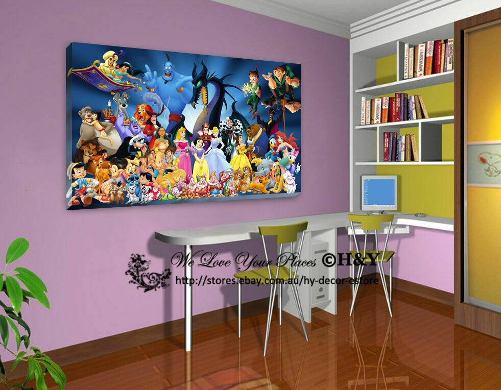 Canvas Wall Art Decor: 30x50x3cm Disney Characters Stretched Canvas Prints Wall