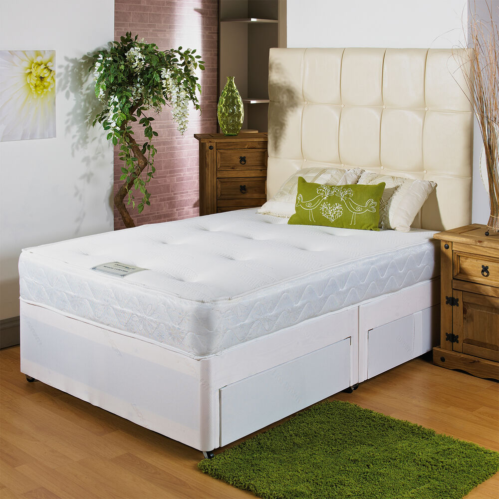 New white memory soft divan bed 3ft 6 large single 2 for Single divan with drawers and headboard