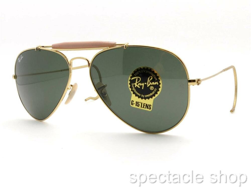 9306ab2f9a4 Details about Ray Ban RB 3030 L0216 58mm Gold G15 58 Outdoorsman New  Authentic