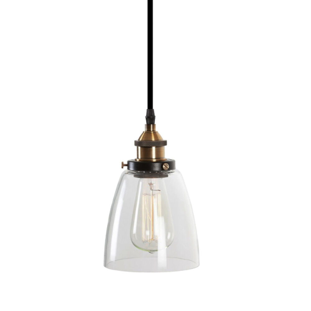 LUCY Glass Pendant Industrial Filament Light Brass