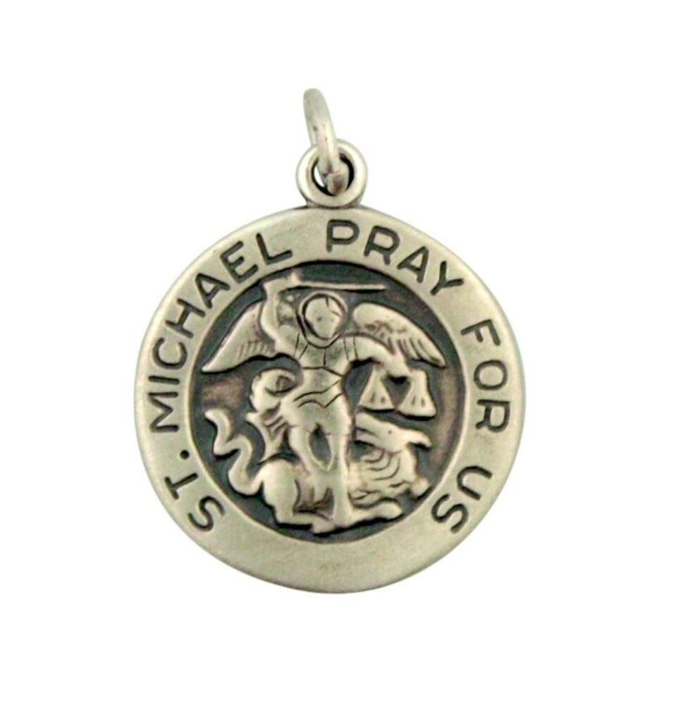 st michael pray for us pendant 13 16 inch sterling