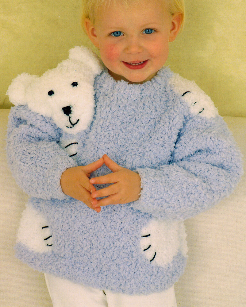 Knitting Pattern Baby Sweater Chunky Yarn : Teddy / Polar Bear