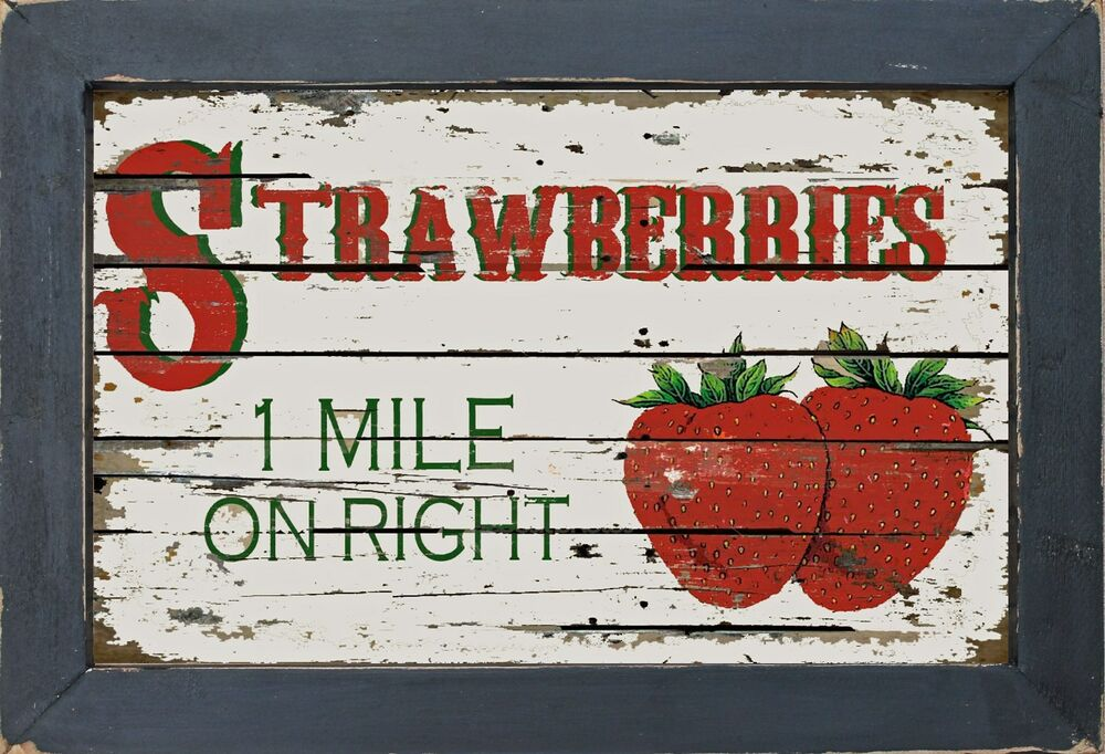 Country Diner Kitchen Primitive Strawberry Strawberries Wall Decor