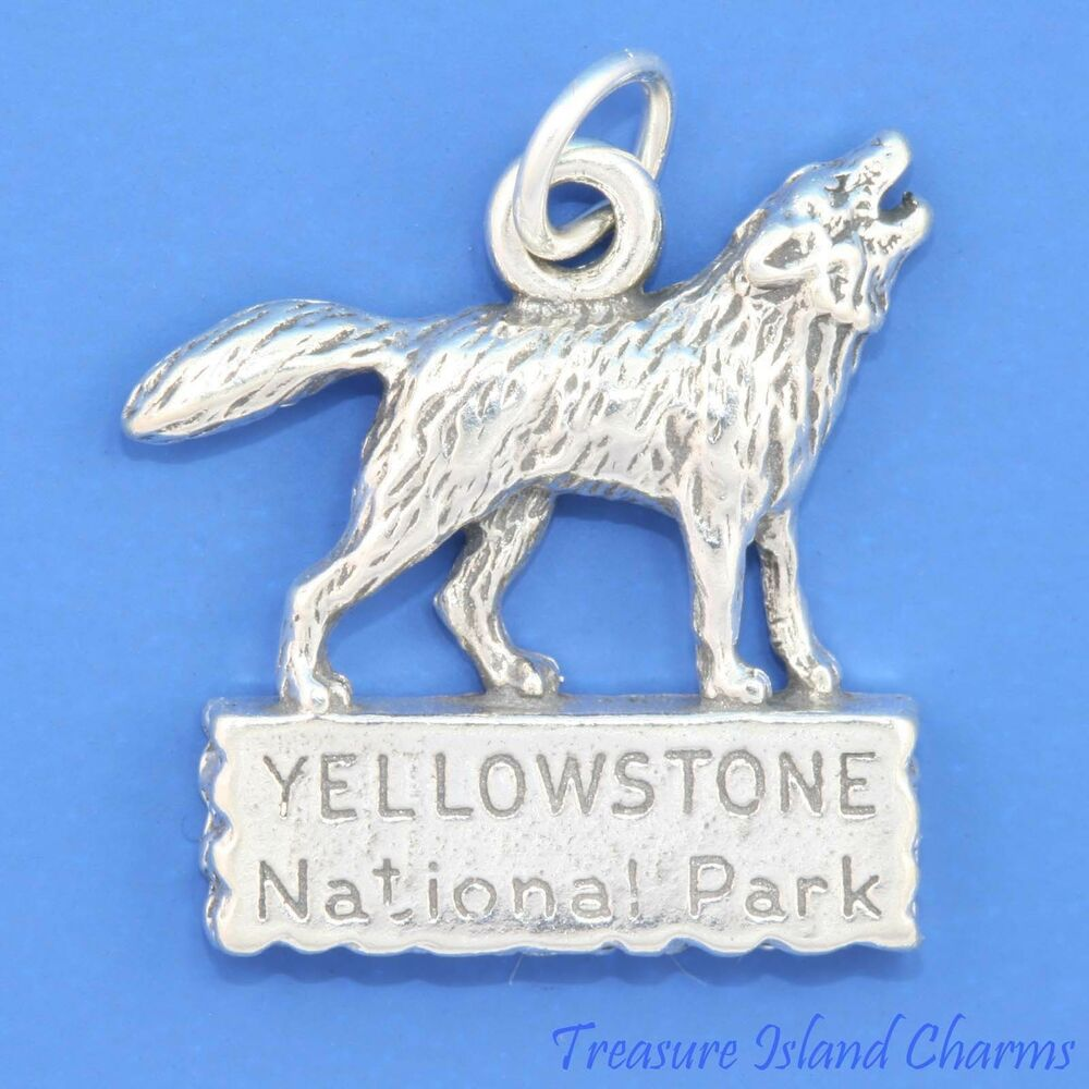 yellowstone national park wolf wyoming 925 sterling