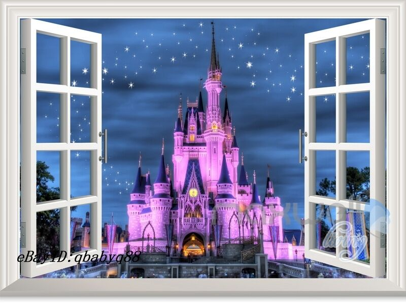 60x80cm disney princess castle star 3d window wall decals for Castle mural kids room