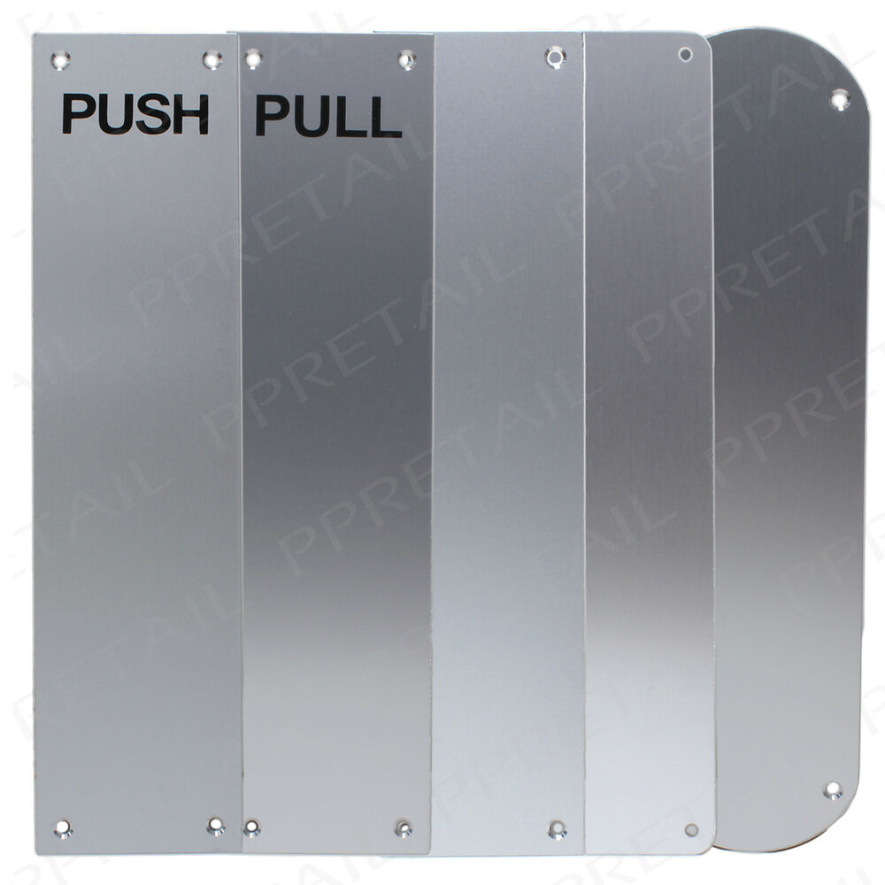 2 x large 30cm finger plates door protector panels silver for Door push plates