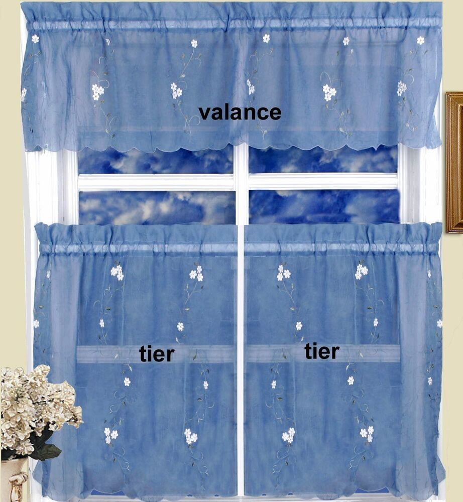 Daisy Kitchen Curtain Valance 30 Tiers 3pc Blue Crushed Sheer Creative Linens Ebay