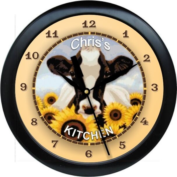 Personalized Country Sunflower Cow Wall Clock Kitchen Gift