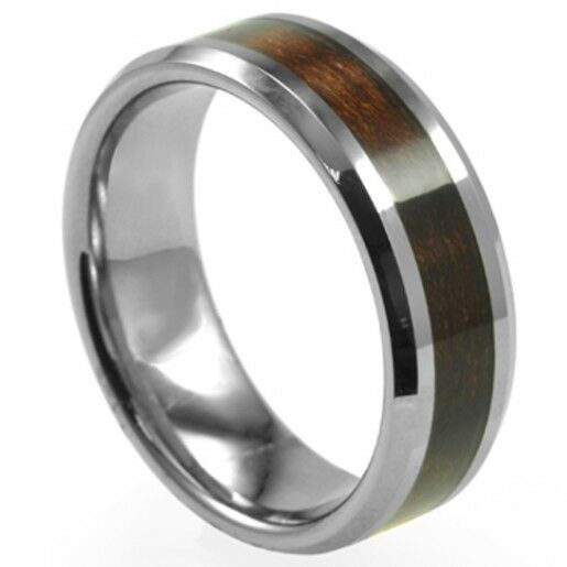 Stainless Steel Mens Wedding Band Ring 8mm: SZ 7-15 Men Stainless Steel 8MM Ring Band Red Wood Inlay
