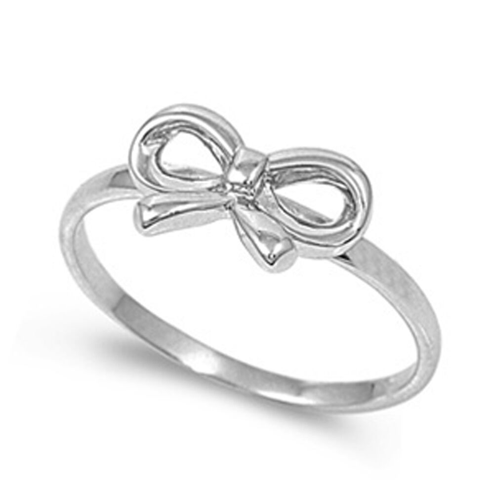 sterling silver womans cute simple bow ribbon ring. Black Bedroom Furniture Sets. Home Design Ideas