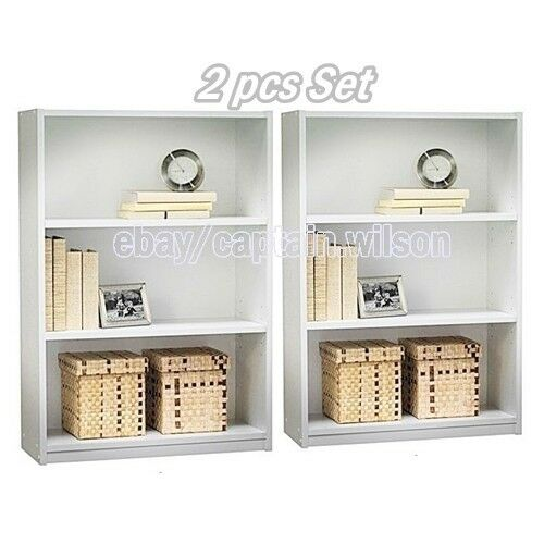 bookcase bookshelf set of 2 pcs 3 shelf white wood. Black Bedroom Furniture Sets. Home Design Ideas
