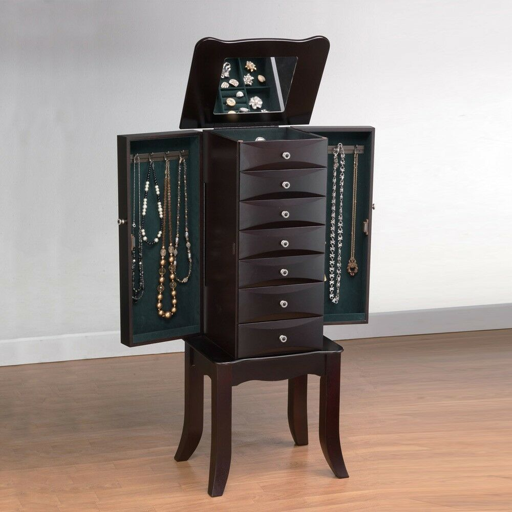 Teresa Jewelry Armoire Storage Cabinet Drawers w/ Flip Top ...