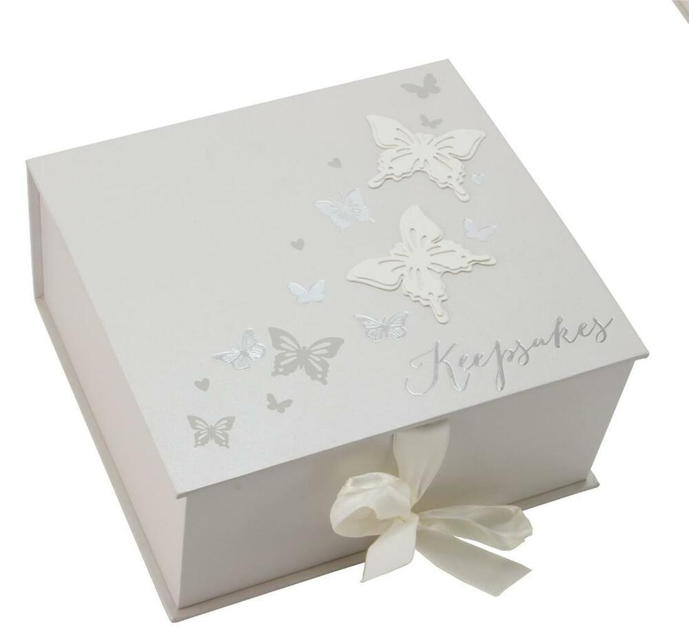 butterfly keepsake memory box new baby engagement. Black Bedroom Furniture Sets. Home Design Ideas