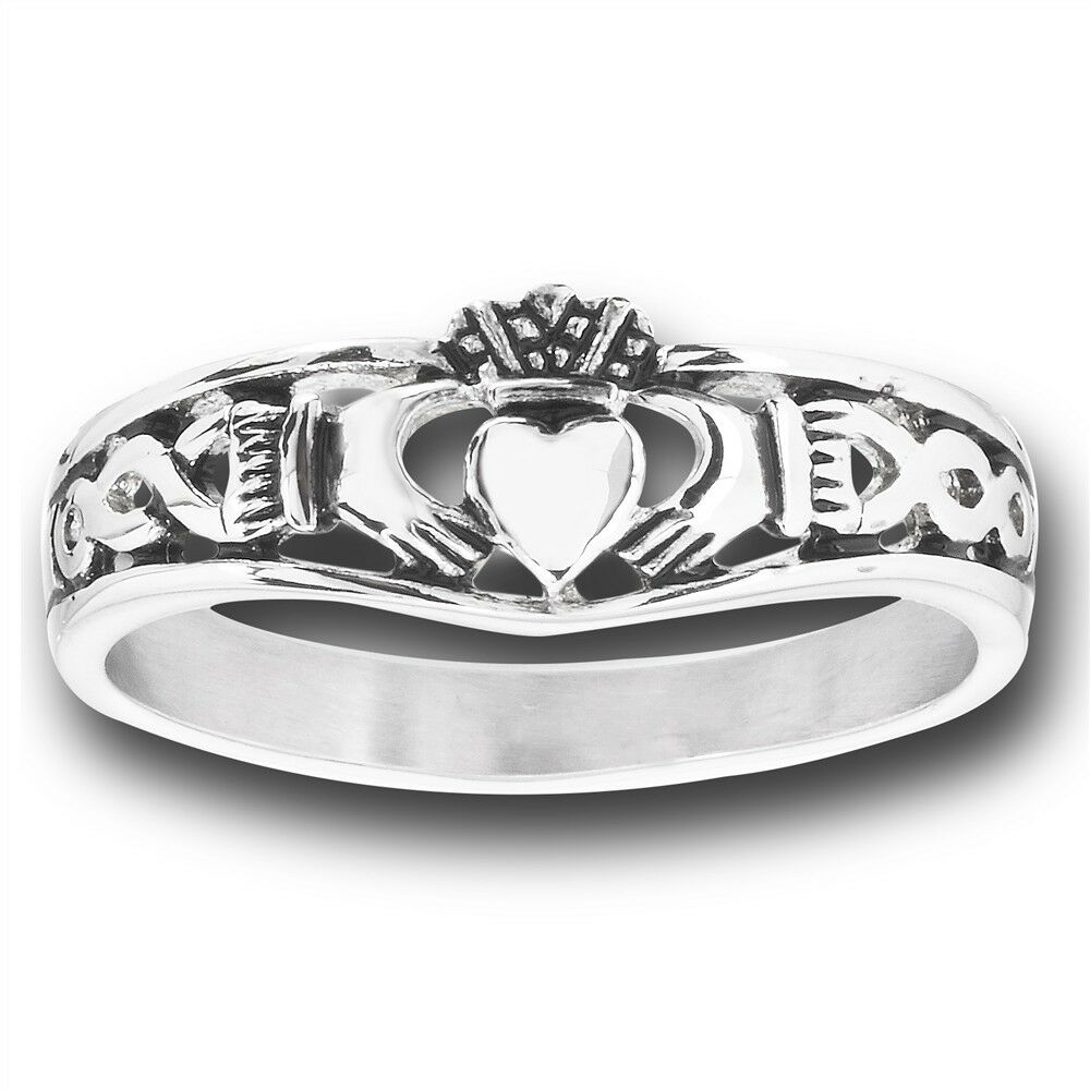 celtic stainless steel claddagh claddaugh ring jewelry w. Black Bedroom Furniture Sets. Home Design Ideas