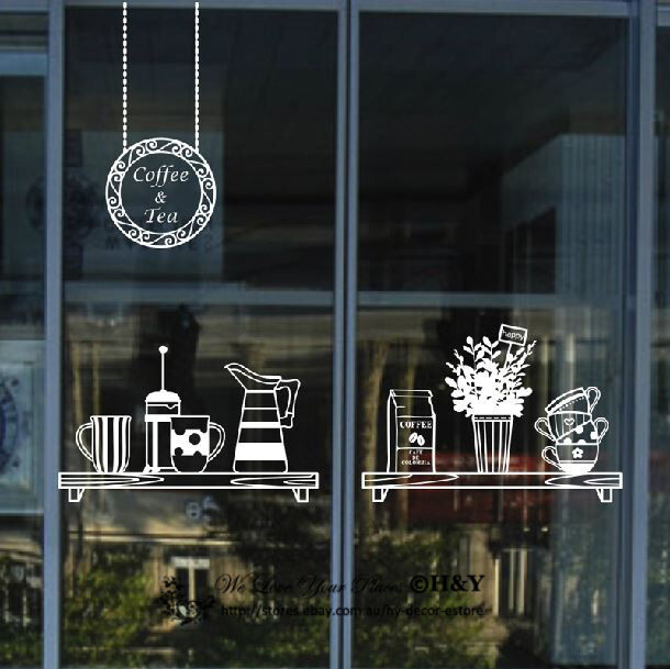 11 Cool Online Stores For Home Decor And High Design: Cake Coffee Cafe Tea Shop Window Sign Stickers Decal Vinyl