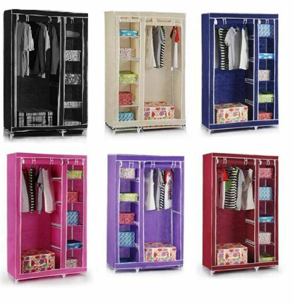 Double Hanging Wardrobe: Double Canvas Foldable Clothes Wardrobe Closets Cupboard