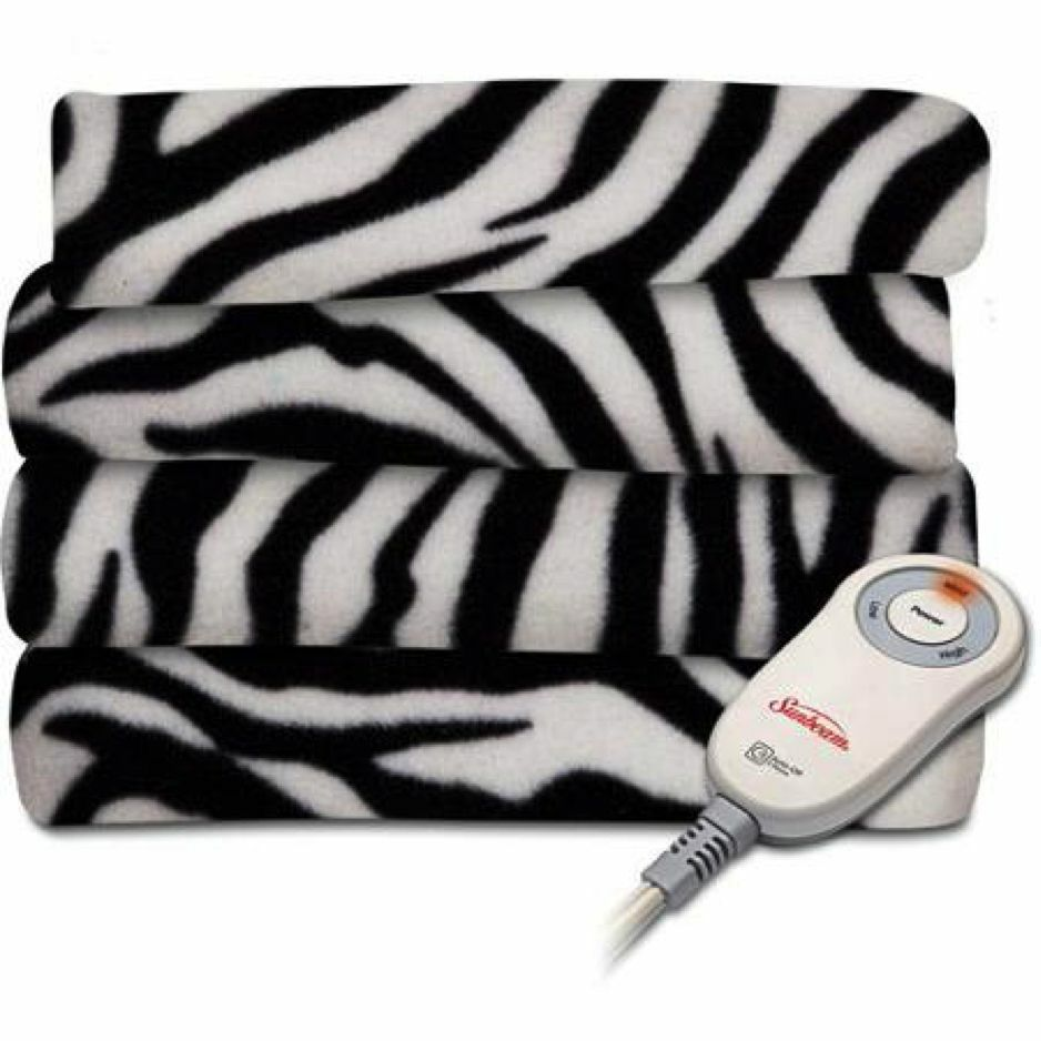 sunbeam black white zebra extra soft heated throw blanket fleece electric animal ebay. Black Bedroom Furniture Sets. Home Design Ideas