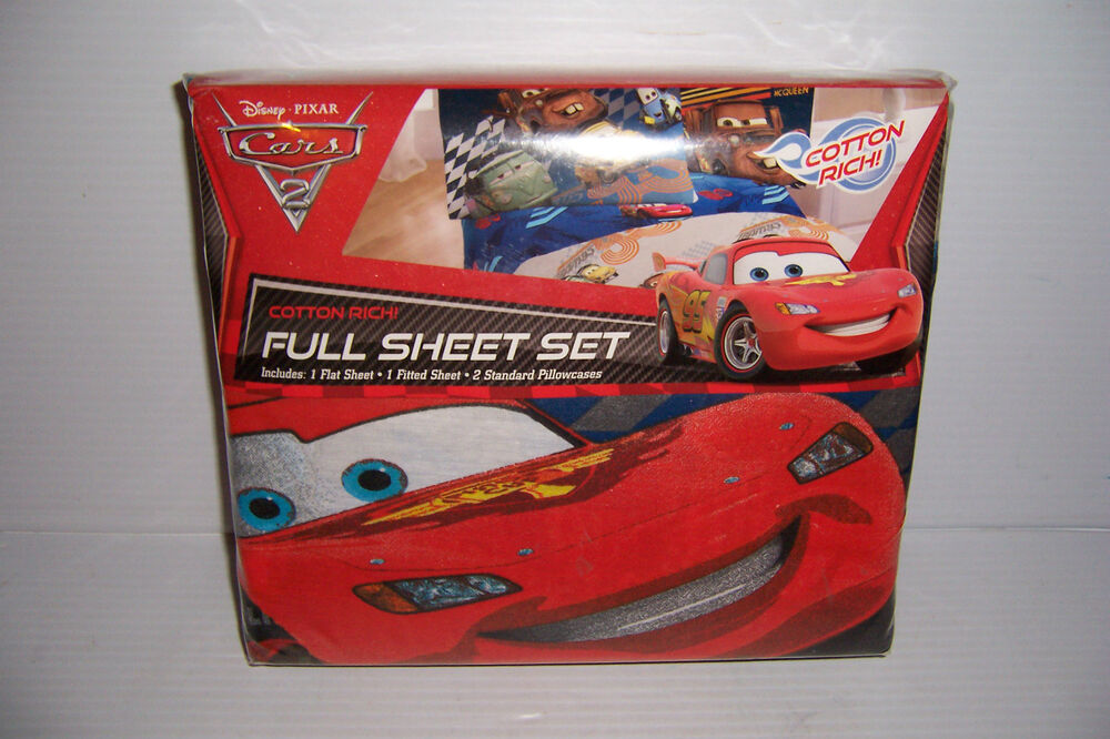 disney cars 2 grand prix cotton rich full bed bedding sheet set new