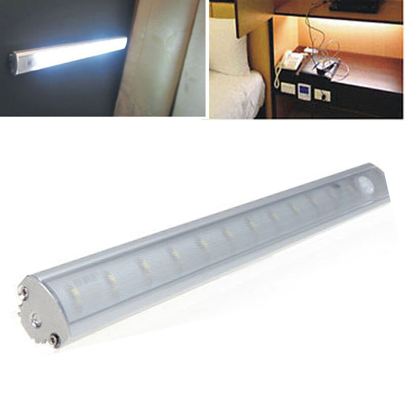 30cm pir motion sensor led tube light fixture under cabinet wardrobe closet lamp ebay. Black Bedroom Furniture Sets. Home Design Ideas