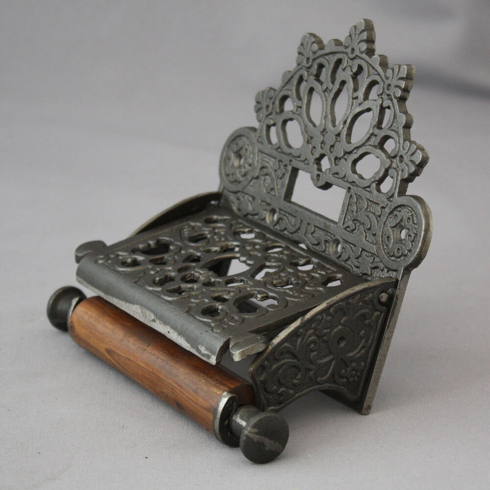 gothic style antique iron toilet roll holder ebay. Black Bedroom Furniture Sets. Home Design Ideas