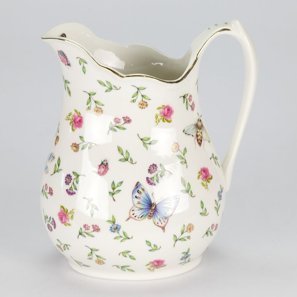 NEW Vintage Style Porcelain Water Jug Pitcher Flower