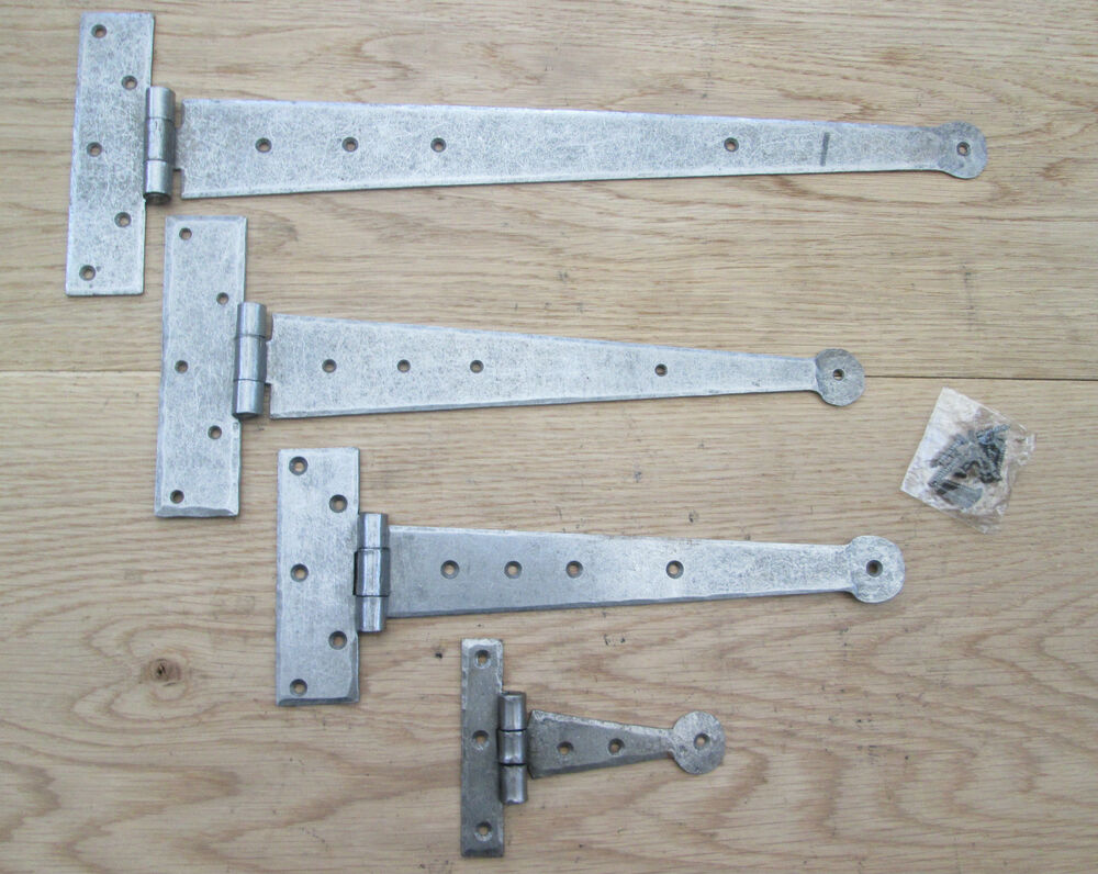 Pair hand forged blacksmith cast iron door cabinet gate tee t hinges