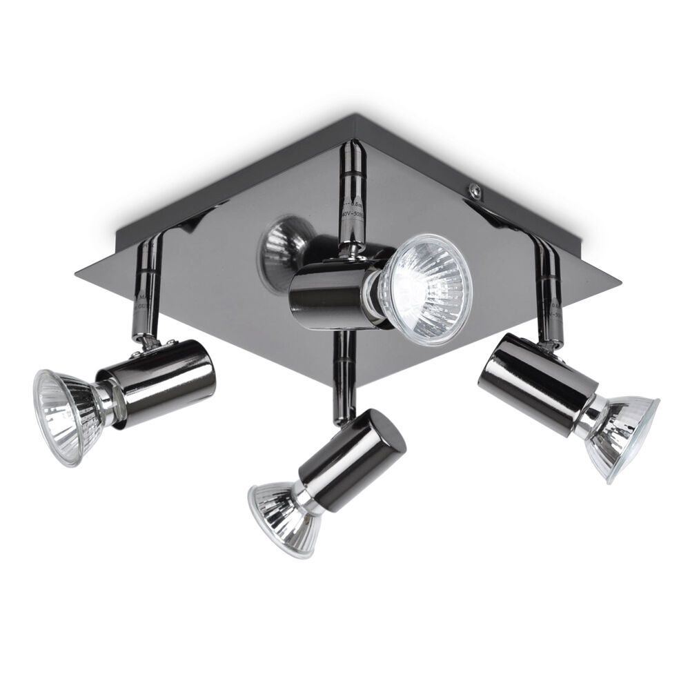 Modern Black Chrome 4 Way Square Kitchen Ceiling Spot