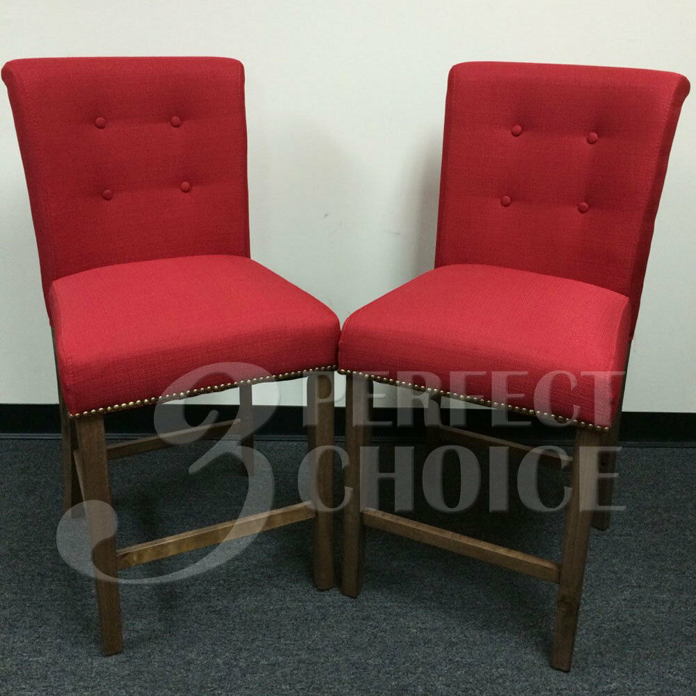 Set Of 2 Dining High Counter Height Side Chair Bar Stool